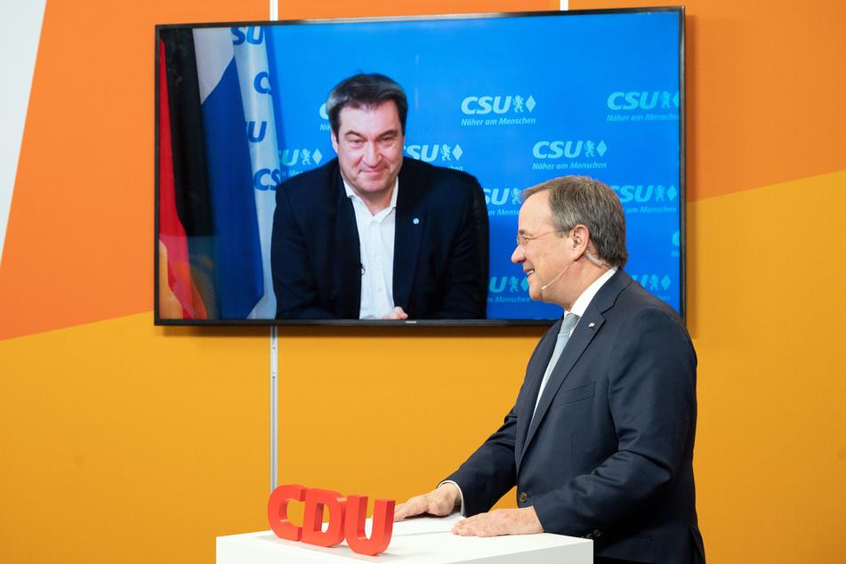 Der CDU-Vorsitzende Armin Laschet (60, r.) und sein Rivale, CSU-Chef Markus Söder (54), liefern sich einen erbitterten Machtkampf um die Kanzlerkandidatur. (Archivfoto)