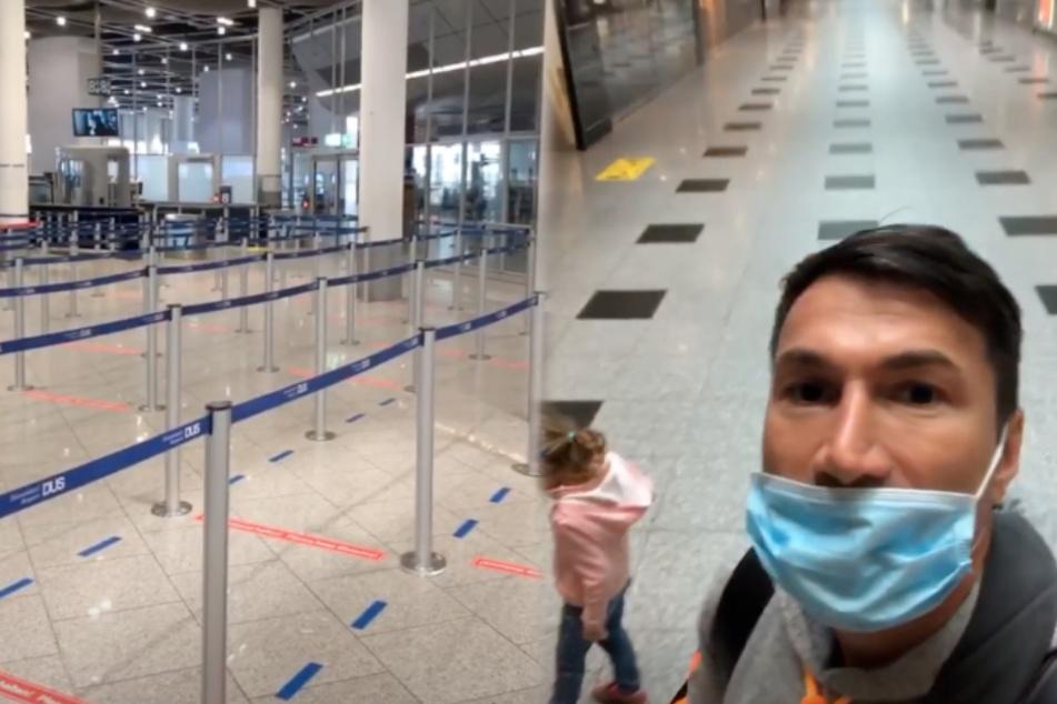 Lucas Cordalis (52) und Tochter Sophia (4) am praktisch wie ausgestorbenen Flughafen Düsseldorf. (Fotomontage)