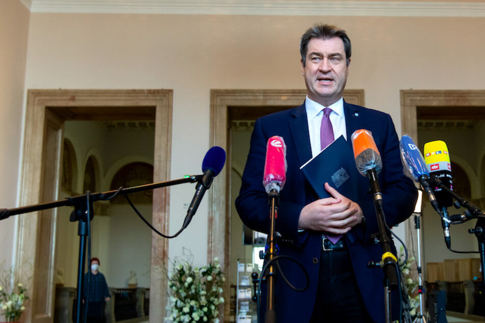 Markus Söder (54, CSU), Ministerpräsident von Bayern, gibt im bayerischen Landtag vor Beginn der Plenarsitzung ein Pressestatement.