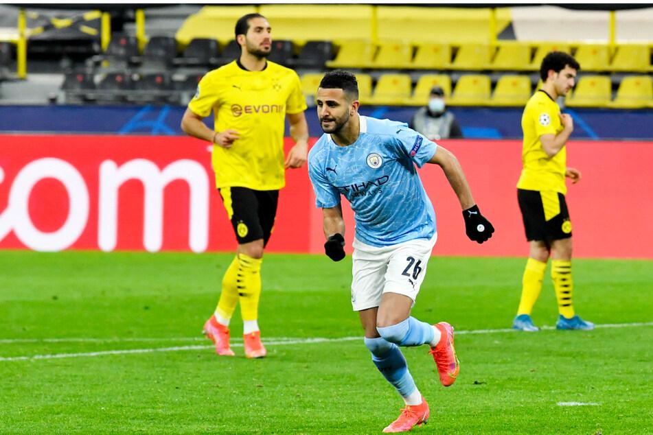 Riyad Mahrez (M.) nutzte Emre Cans (l.) entscheidenden und zugleich unglücklichen Fehler aus, der Borussia Dortmund deshalb den Einzug ins Halbfinale kostete.