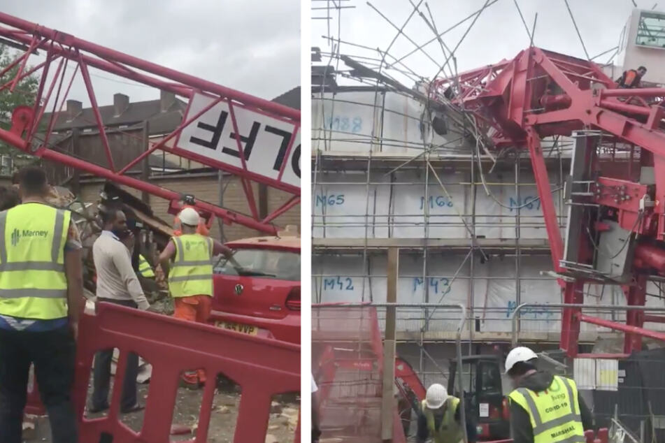 20 Meter hoher Kran stürzt um: Mehrere Menschen unter Trümmern begraben, ein Mensch stirbt!