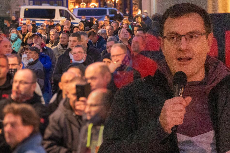 Corona-Demo im Erzgebirge: Kaum Masken, kein Abstand!