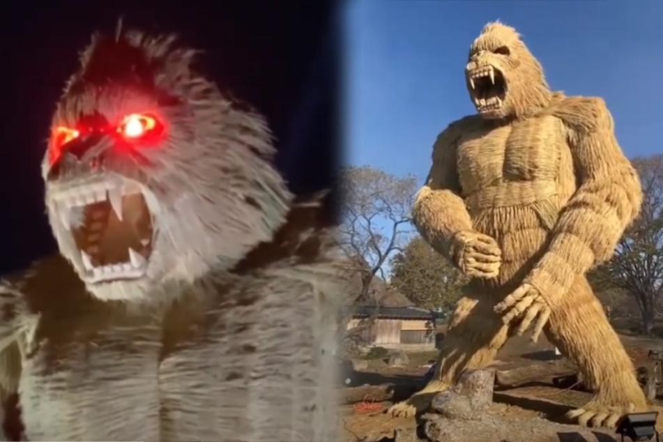 Dorfbewohner bauen riesigen Gorilla, der sie vor Covid-19 schützen soll