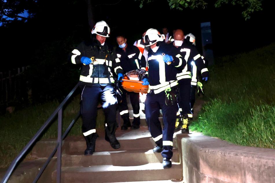 Bei einem Kletterunfall am Schloss Sonnenstein in Pirna wurde ein Mann (38) schwer verletzt.