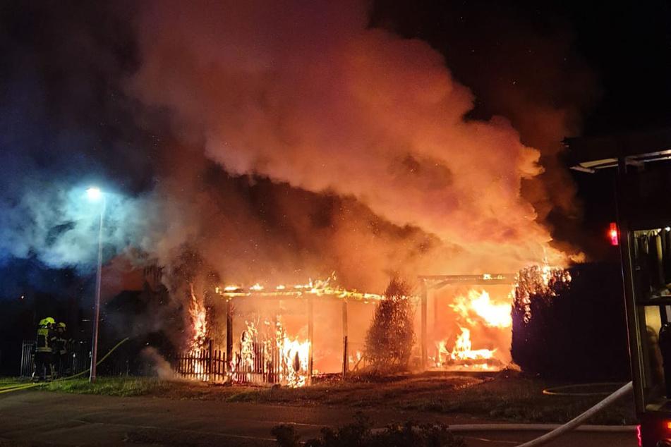 In der Hermann-Löns-Straße in Borna-Heinersdorf brannten am 26. August ein Carport und ein Mecredes Vito lichterloh.