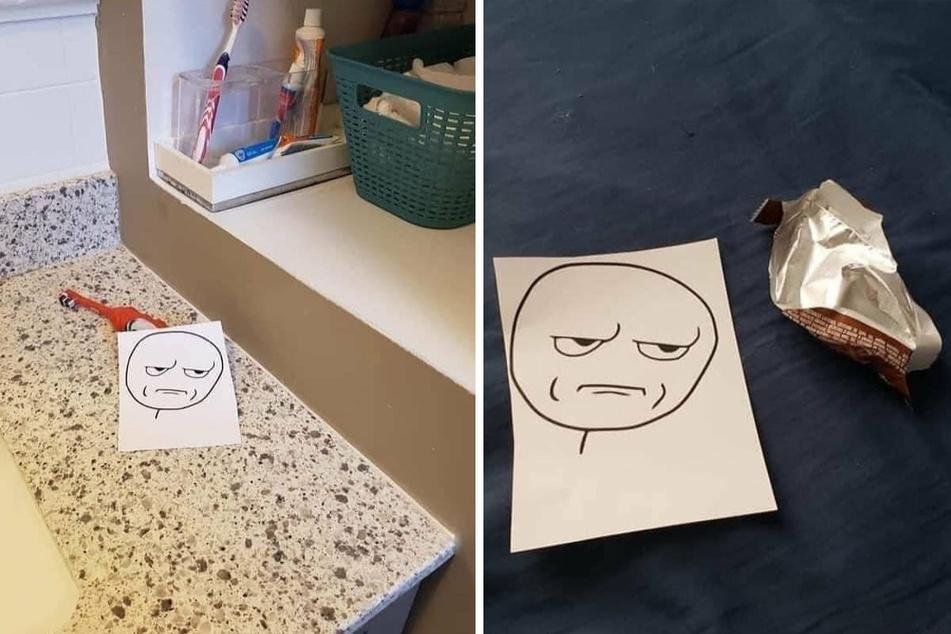 Das Bild macht es deutlich. Zahnbürsten gehören aufgeräumt (l.) und leere Verpackungen in den Müll!