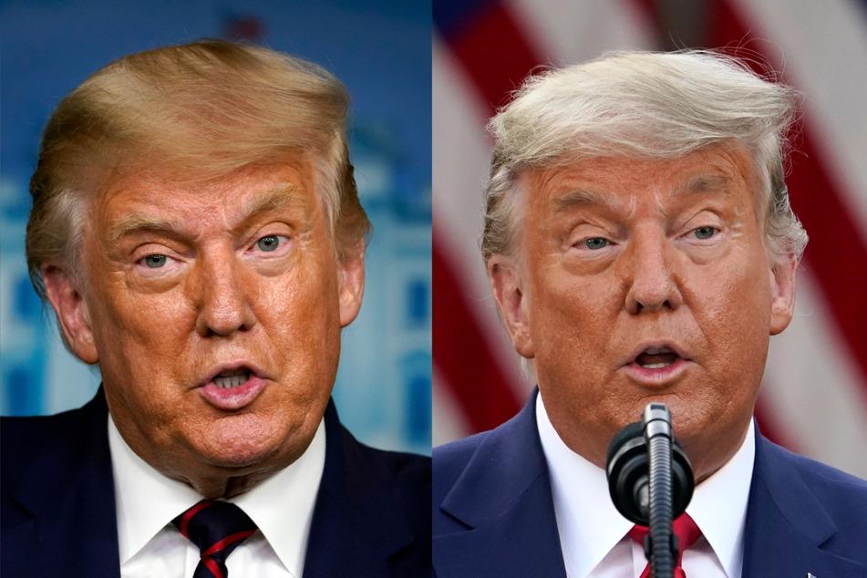 Die künstliche Bräune im Gesicht ist geblieben, die Haare wurden grau: Das linke Bild zeigt Donald Trump im September, das rechte stammt von seiner Rede am gestrigen Freitag.