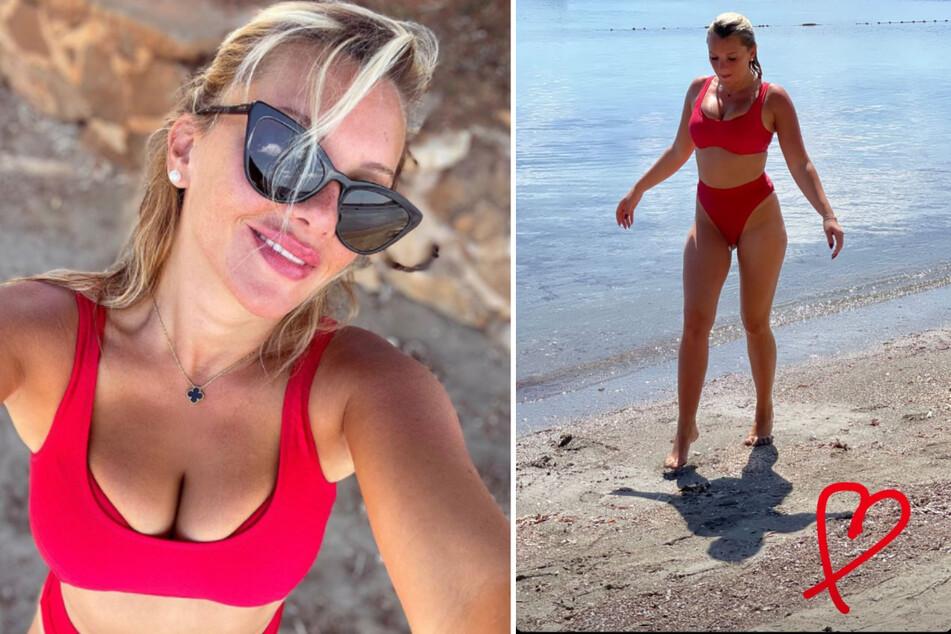 Evelyn Burdecki (32) zeigt sich bei Instagram braun gebrannt im knallroten Bikini. (Fotomontage)