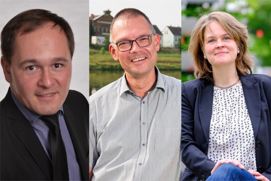Diese drei Kandidaten stehen am Sonntag zur Wahl: Thomas Kirste (43, AfD, v.l.n.r.), Ralf Hänsel (50, parteilos) und Elke Siebert (48, Grüne).