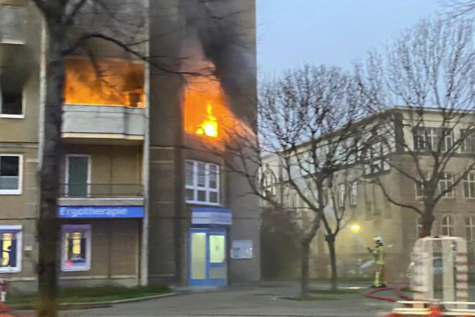 Dresden: Dresden: Wohnung am Albertplatz brennt lichterloh