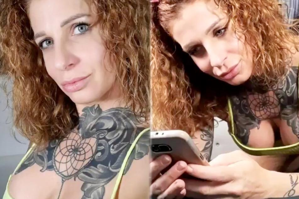 Die Montage zeigt Screenshots zweier Instagram-Storys von Tattoo- und Erotik-Model Samy Fox (38).