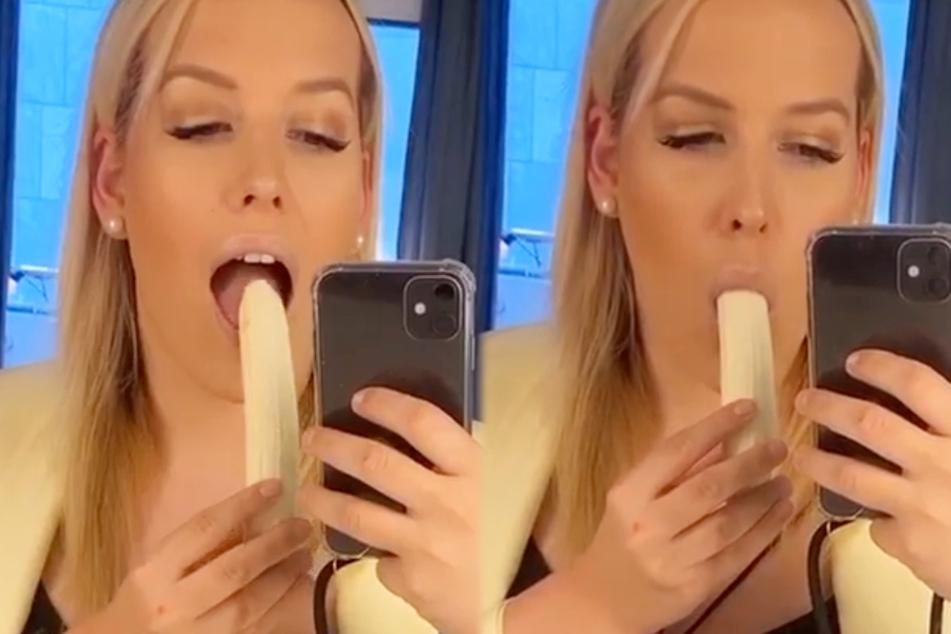 Sexy Josi alias Josimelonie ließ sich am Montagmorgen zum Frühstück eine Banane schmecken.