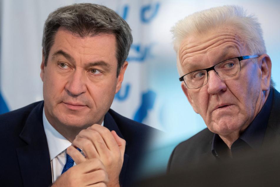 Von links: Bayerns Ministerpräsident Markus Söder (54, CSU) und Baden-Württembergs Landesvater Winfried Kretschmann (73, Grüne).
