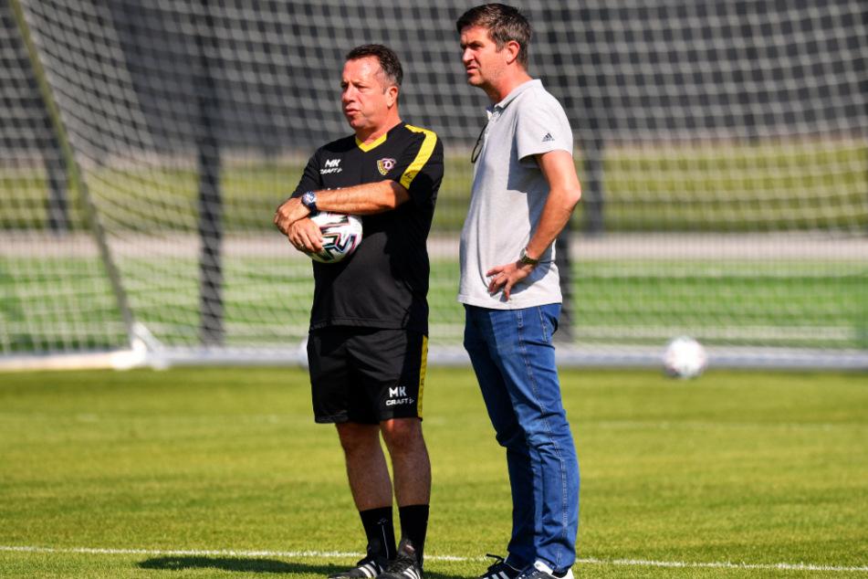 Dynamo-Trainer Markus Kauczinski (l.) muss aus die Neuen, die Ralf Becker geholt hat, in die Mannschaft einbauen.