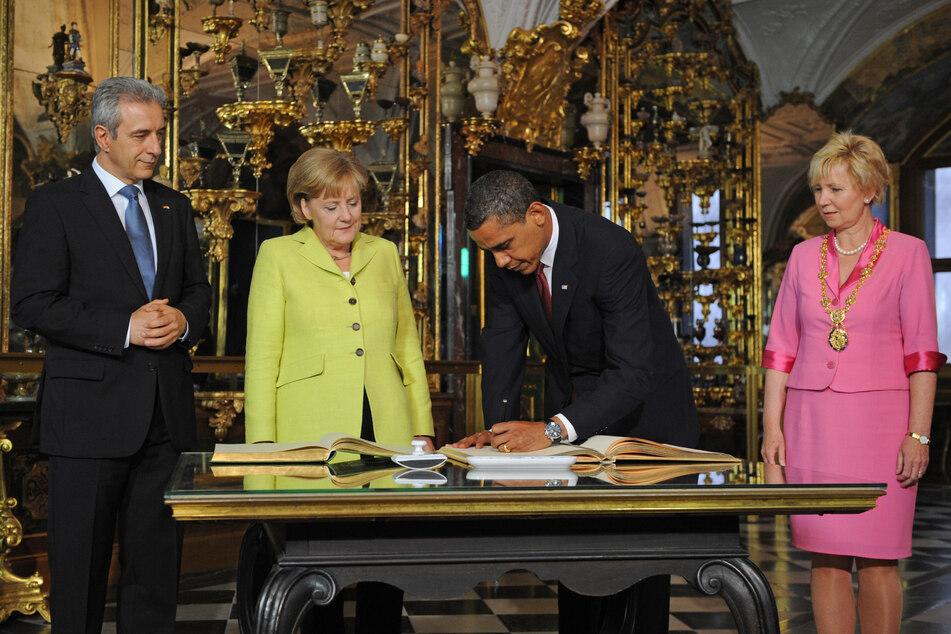 Top frisiert: OB Helma Orosz (r.) 2009 beim Staatsbesuch von Barack Obama.