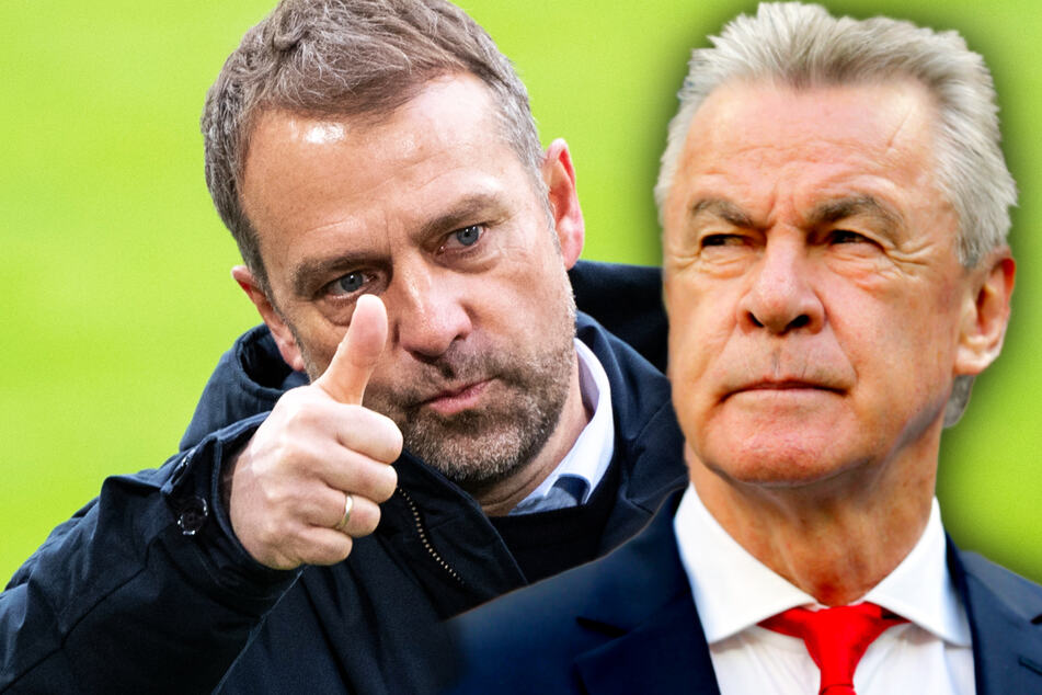 Trainer-Legende Ottmar Hitzfeld (72, r.) hat die historische Leistung des scheidenden Bayern-Coaches Hansi Flick (56) gewürdigt.