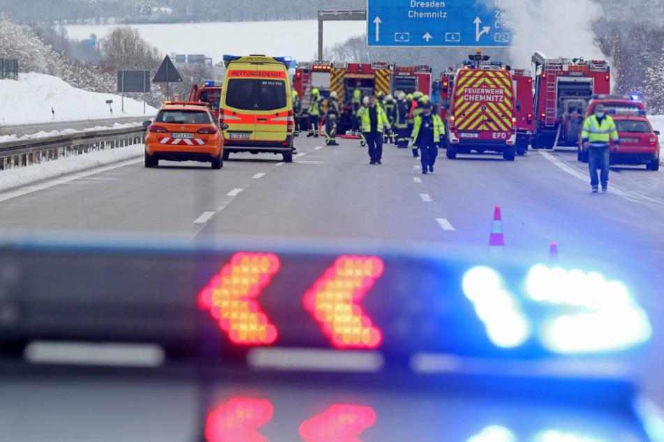 Die A4 in Richtung Chemnitz musste kurzzeitig gesperrt werden.