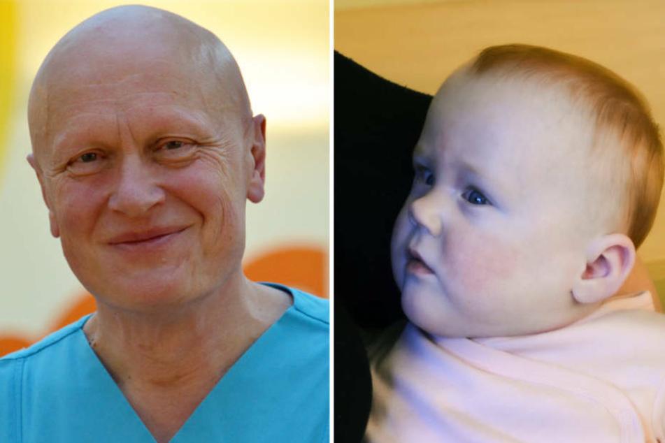Reinald Repp, der Leiter der Fuldaer Kinderklinik (li.) und die kleine Melina im April 2020.