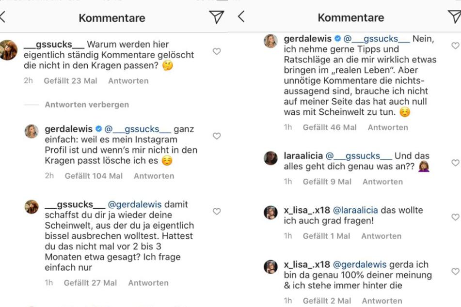 Gerda Lewis (27) startete mit einer Kritikerin eine Diskussion bei Instagram und rechtfertigte sich für die Zensur in ihren Kommentaren.