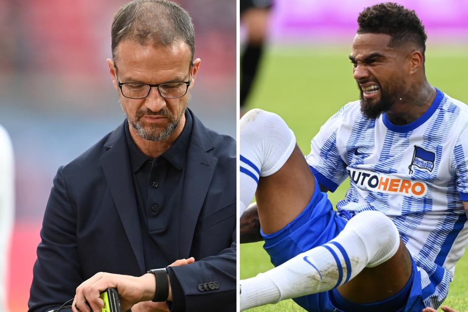 Fredi Bobic (49/l.) freut sich auf die Rückkehr an die alte Wirkungsstätte. Mit Eintracht Frankfurt gewannen Bobic und Kevin-Prince Boateng (34/r.) den DFB-Pokal. (Bildmontage)