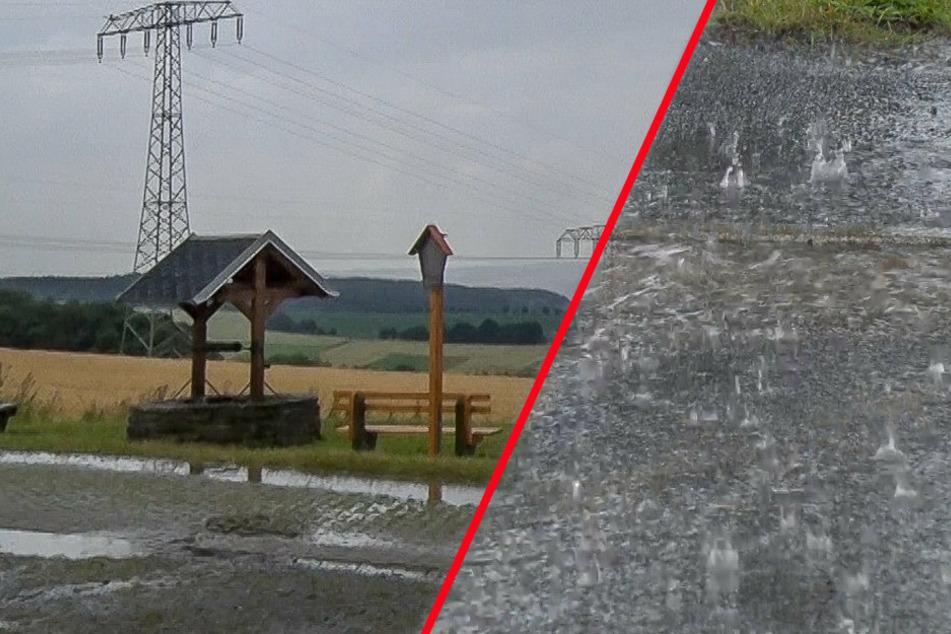 Unwetter über Sachsen: Gewitter und Starkregen im Erzgebirge