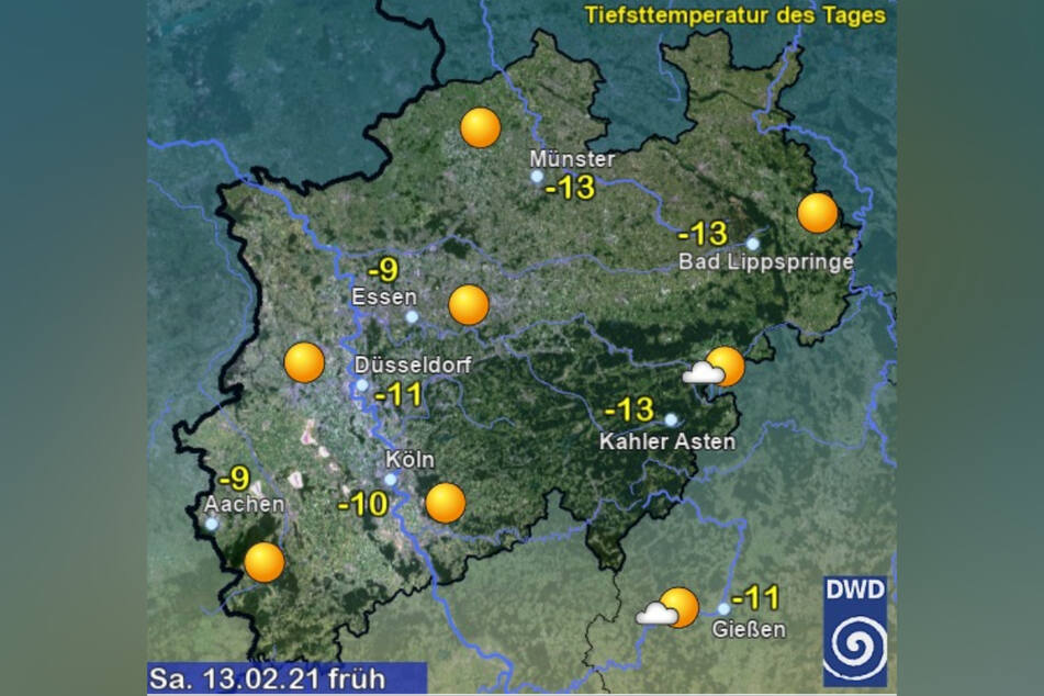 Zu Beginn des Wochenendes werden in NRW wieder zweistellige Minusgrade erreicht.