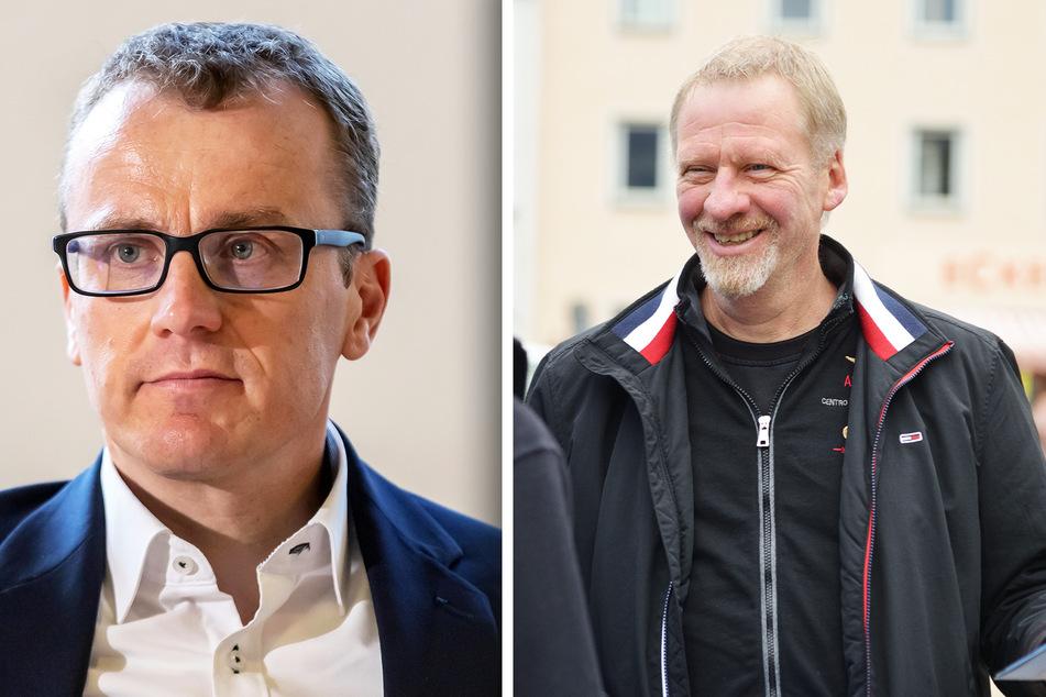 Alexander Krauß (45, CDU, l.) kämpft im Erzgebirgskreis gegen die AfD. Thomas Dietz (54, AfD) aus dem Erzgebirgskreis beim Wahlkampf in Annaberg-Buchholz.