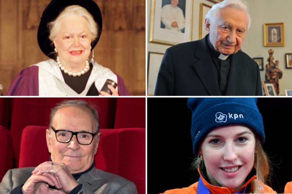 Olivia de Havilland und Ennio Morricone (l.) sowie Georg Ratzinger und Lara van Ruijven.