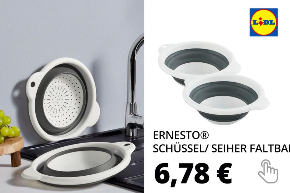 ERNESTO® Schüssel/ Seiher, faltbar, mit 2 Griffen, spülmaschinengeeignet