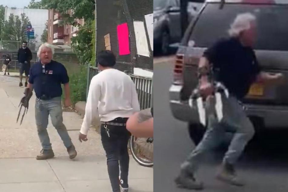 Im Anschluss versucht er die Demonstranten mit seinem Auto zu überfahren.
