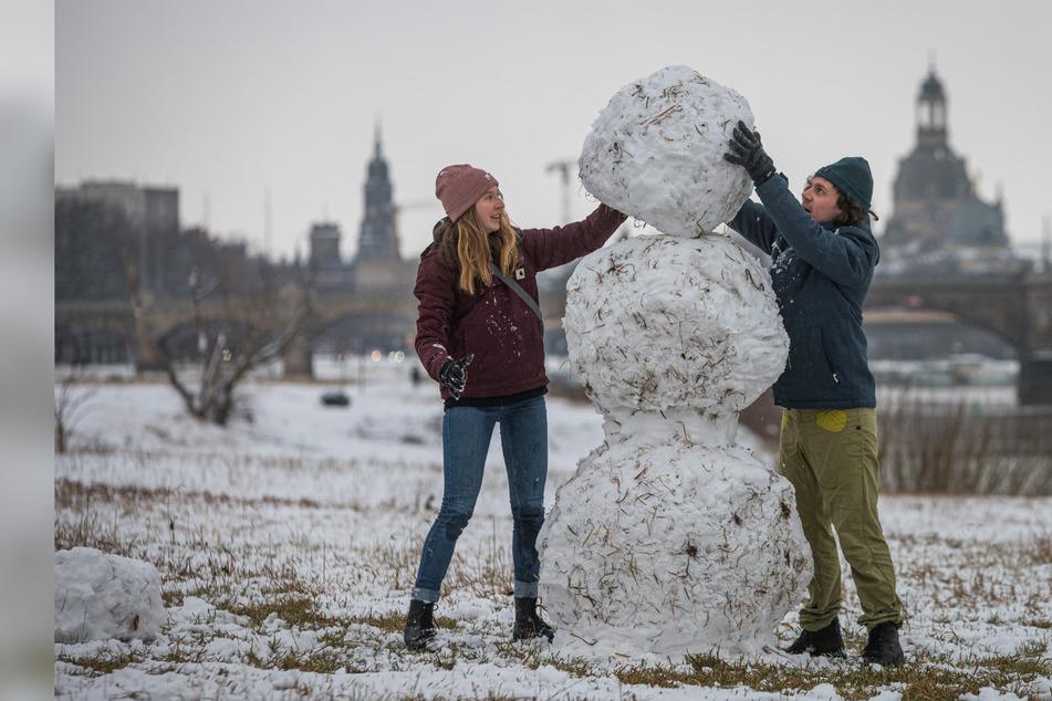 Flockenwirbel hüllt Dresden ein: Endlich Schnee-Spaß in der Stadt