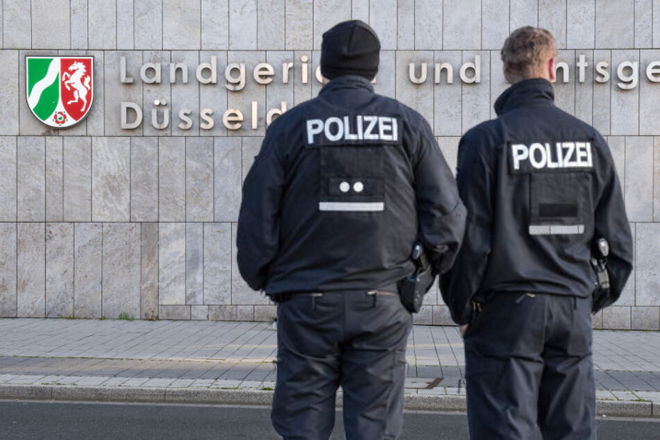 Zwei Polizisten stehen ab Mittwoch vor Gericht, weil sie einen Mann in der Düsseldorfer Altstadt schwer verletzt haben sollen. (Fotomontage)