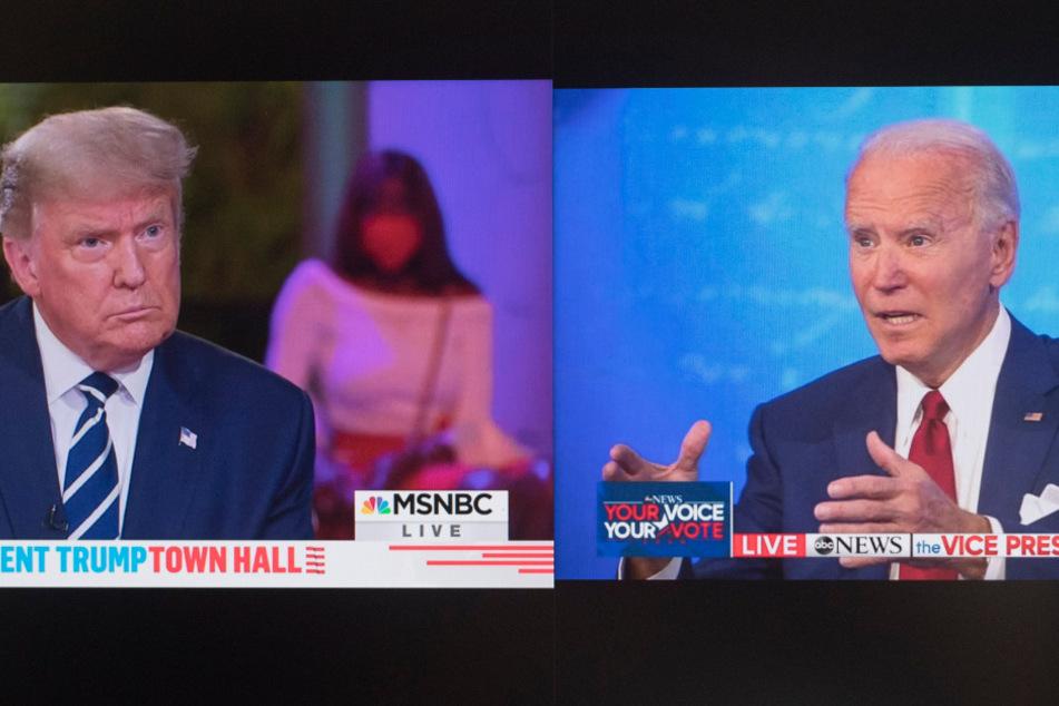 Die Bildkombo zeigt Screenshots aus den ABC- und MSNBC-Übertragungen während einer Fragestunde mit Wählern. Joe Biden (r.), Präsidentschaftskandidat der Demokraten, spricht im National Constitution Center, Philadelphia. Donald Trump (l.), Präsident der USA, spricht im Perez Art Museum, Miami.