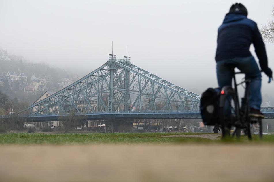 An den Elbwiesen droht für Radfahrer keine große Gefahr, doch auf der Brücke Blaues Wunder kann es brenzlig werden!