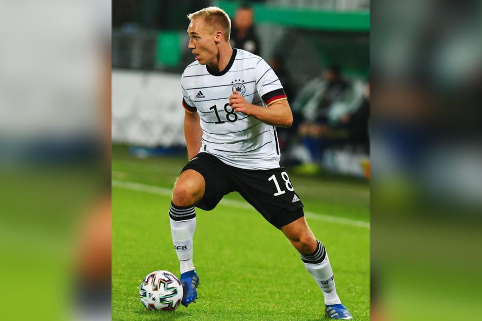 Aues Florian Krüger (22) im Trikot des DFB. Ab Mittwoch trägt er das für Deutschland bei der U21-EM.