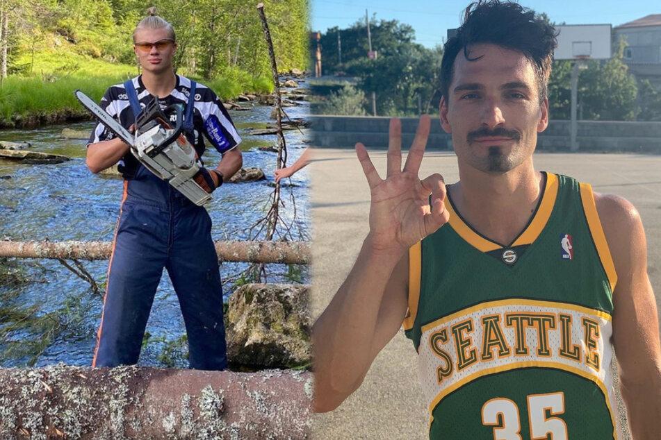 Erling Haaland (19) zersägt Bäume und Mats Hummels (31) wirft Körbe beim Basketball.