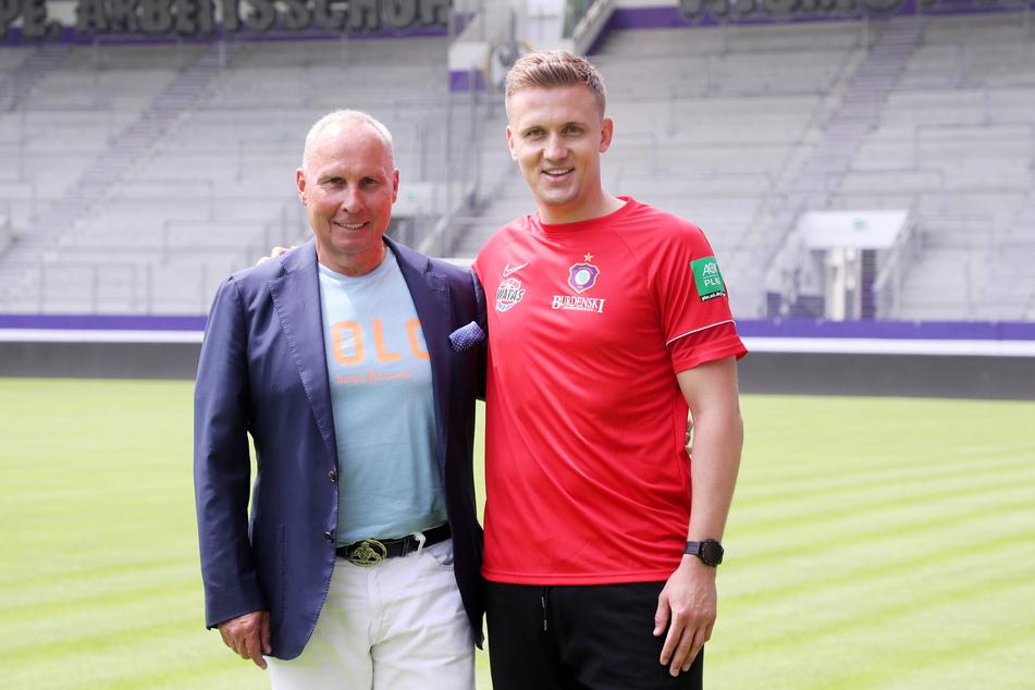 Lässt nichts aufs Trainer Aleksey Shpilevski (33) kommen: Präsident Helge Leonhardt (62).