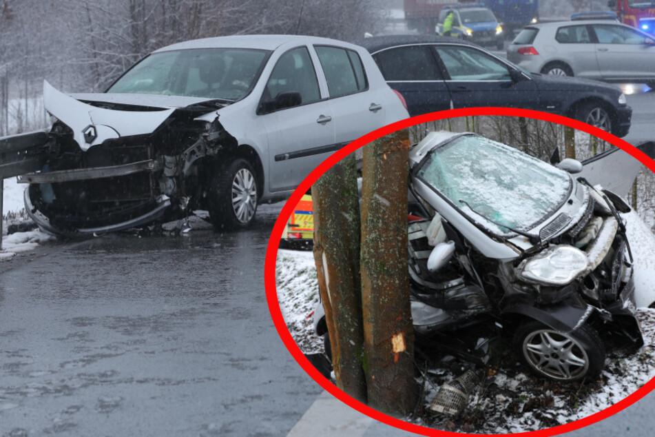 Schnee-Chaos sorgt in Dresden für Unfälle: BMW kracht auf A4 in zwei Kleinwagen, schwerer Crash auf der B6!
