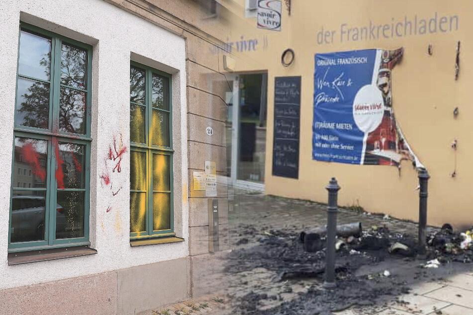 Dresden: Täter beschmieren Polizeirevier mit Farbe und zünden Mülltonne vor Geschäft an