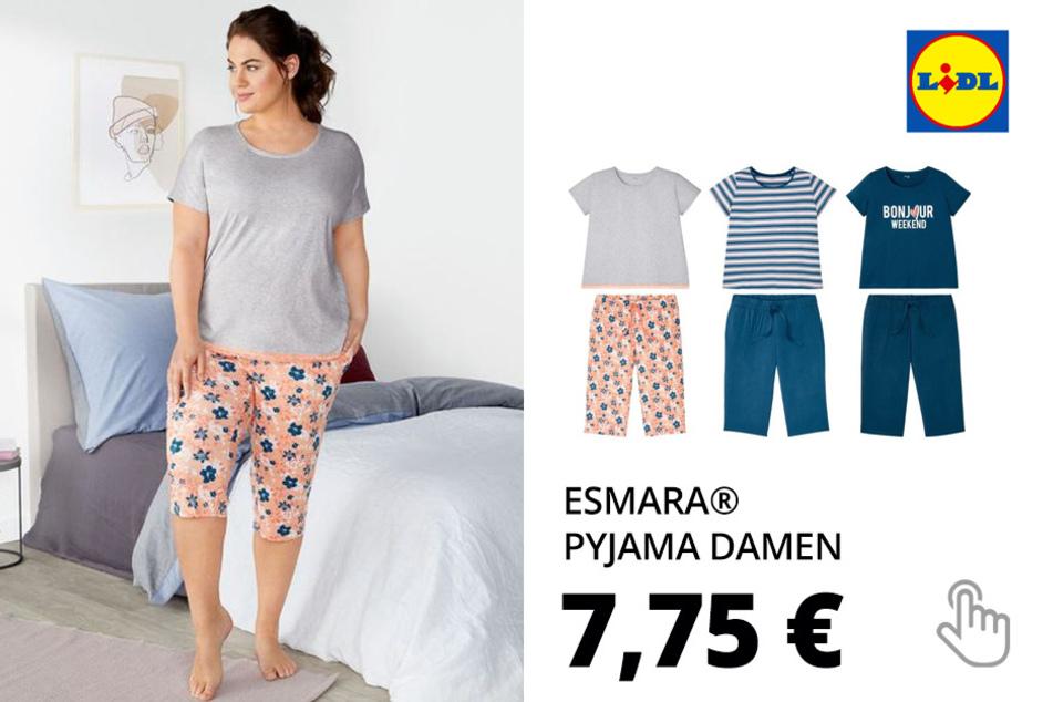 ESMARA® Pyjama Damen, elastischer Bund mit Bindeband, mit Baumwolle und Viskose