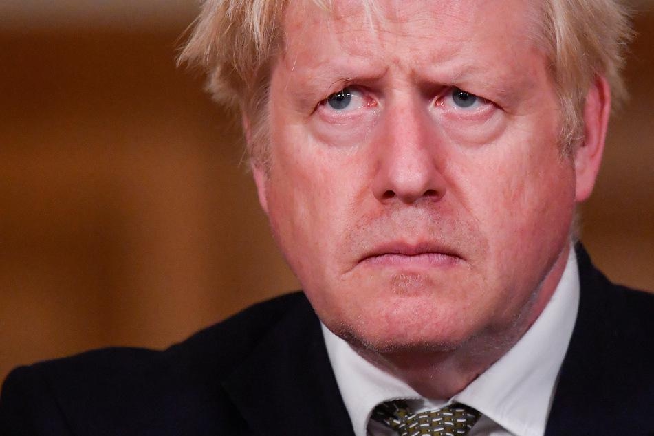 Boris Johnson, Premierminister von Großbritannien, gibt eine Pressekonferenz in der 10 Downing Street.