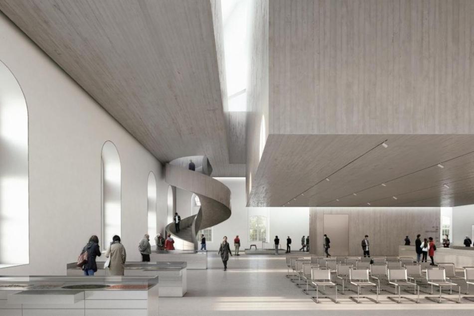 Die Zukunft: Im Inneren hängt ein Betonhaus.