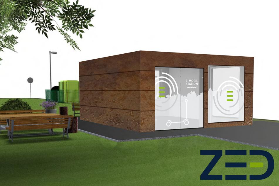 So soll die neue Ausleihstation für Elektrofahrzeuge in Zwickau aussehen.