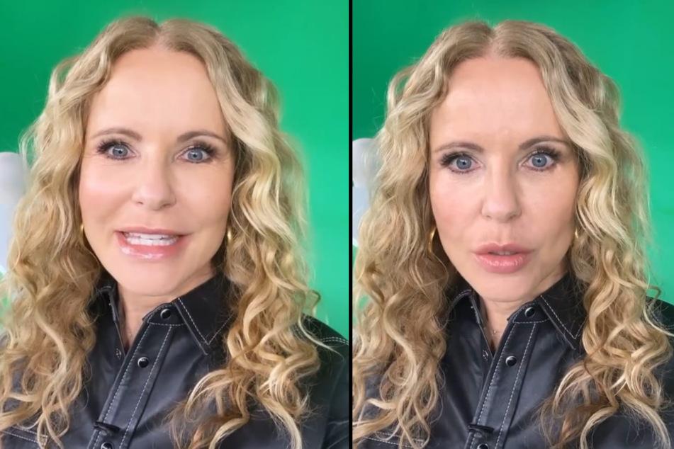 """Vor der """"Punkt 12""""-Sendung am Mittwoch trug Katja Burkard (55) noch ihre gewohnte Lockenpracht auf dem Kopf. (Fotomontage)"""