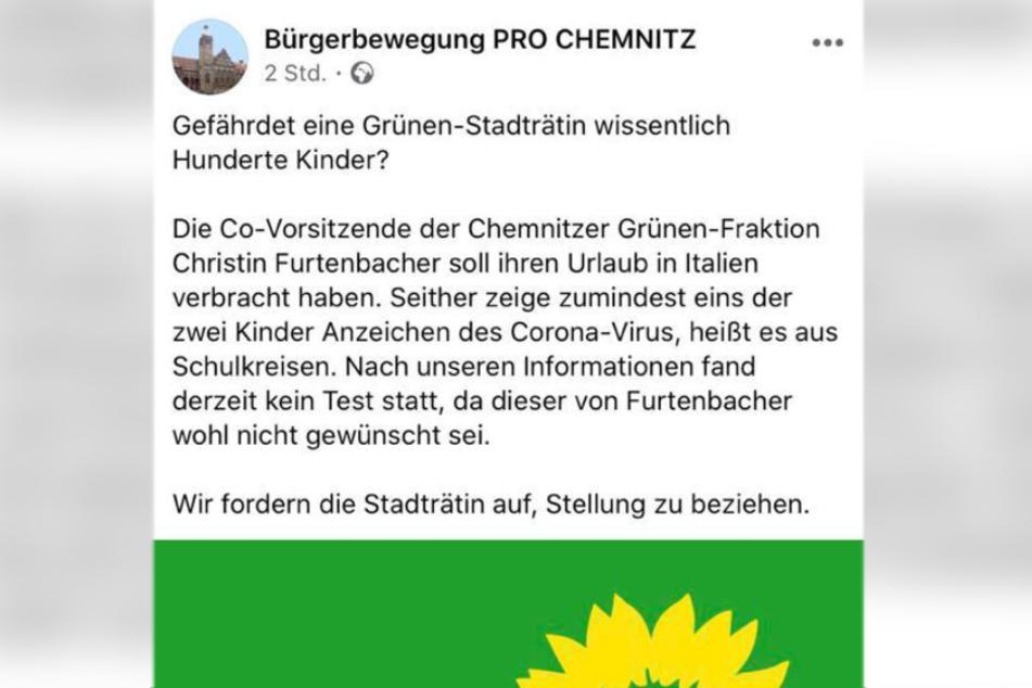 Die rechte Bürgerbewegung Pro Chemnitz postete die Unterstellung auf Facebook. Kurze Zeit später war der Post wieder verschwunden.