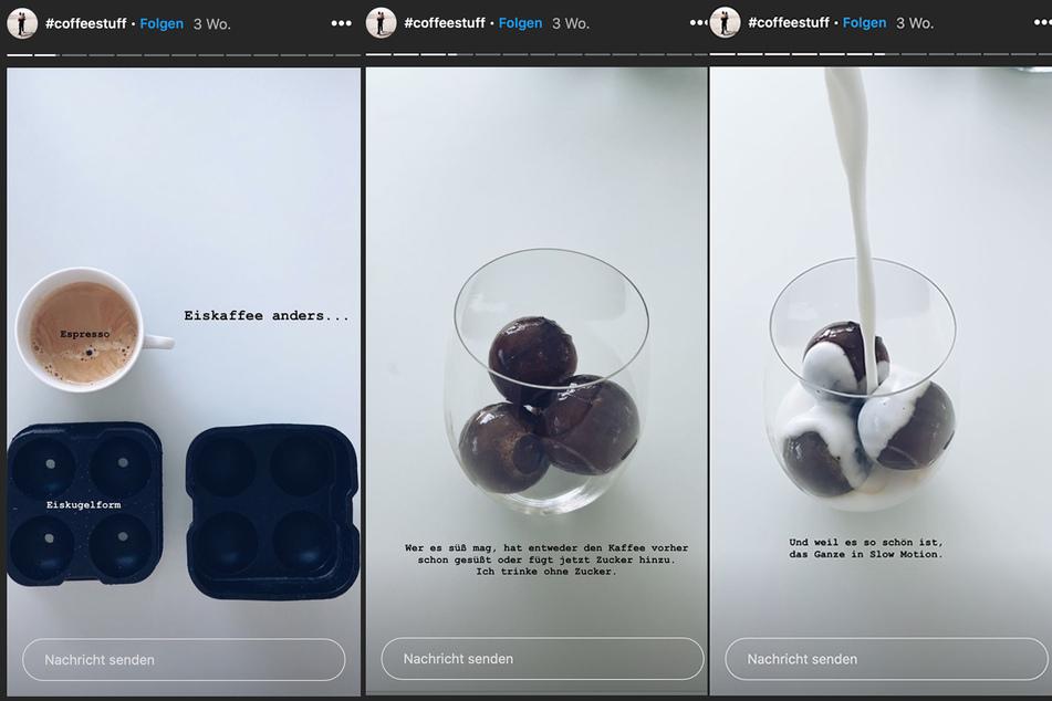 Der Espresso wird über Nacht eingefroren und am nächsten Tag mit heißer Milch serviert.