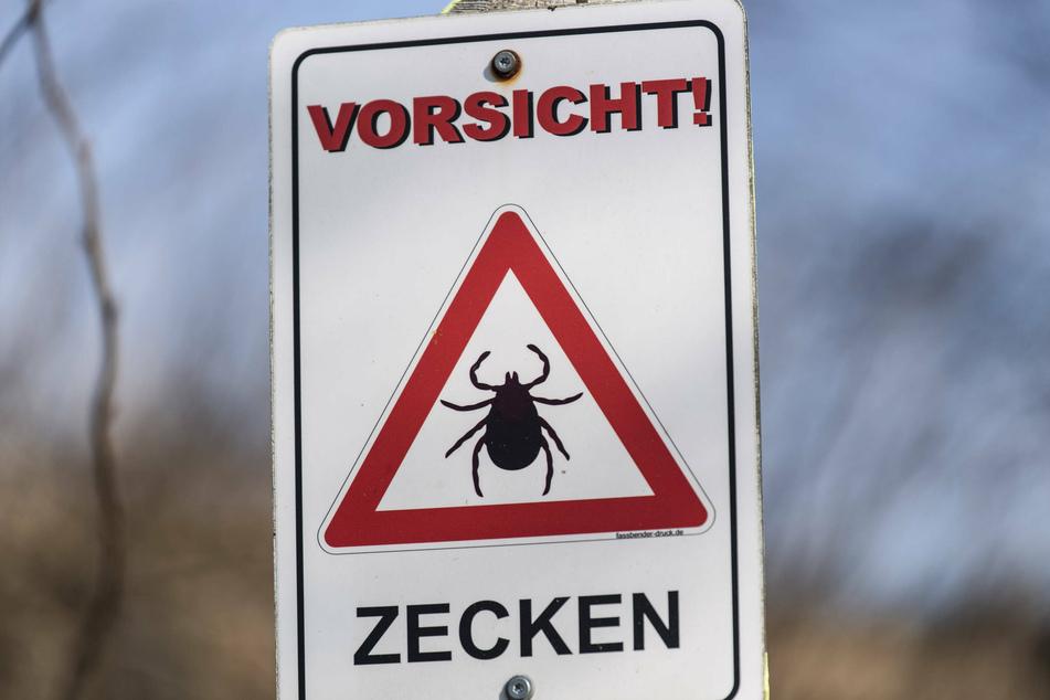 """Ein Schild warnt: """"Vorsicht! ZECKEN"""""""