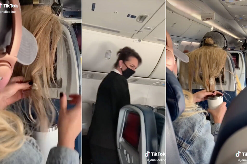 A flight attendant walks past the two women, but doesn't do anything about the hairy revenge.