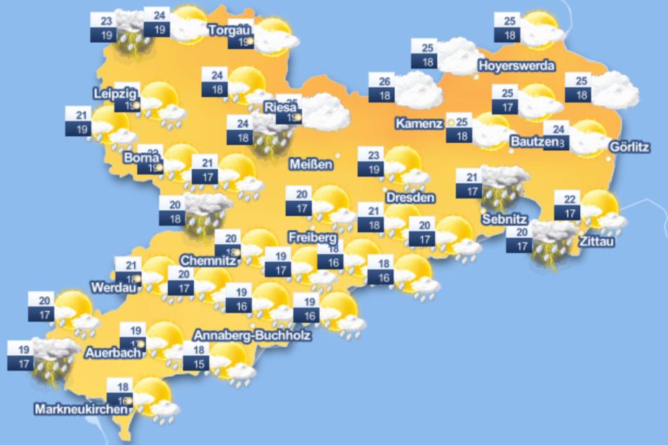 Im ganzen Freistaat soll es am Wochenende viel regnen.