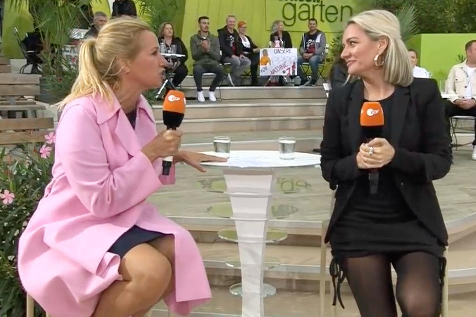 Andrea Kewell, 56 anni, e la vocal coach Juliette Schopman, 41, hanno fornito Echi di DSDS allo ZDF Television Garden.